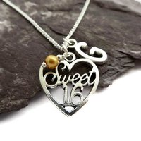 Personalised Sweet 16 gift, Custom birthstone necklace, Heart pendant, 16th birthday gift for her, silver initial necklace, November citrine - 16th Birthday Gifts