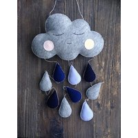 Boys Sleepy Cloud and Raindrops Mobile, 100% Wool Felt, Baby Boys Mobile, Childrens Bedroom, Baby Nursery, White, Blue, Grey - Nursery Gifts
