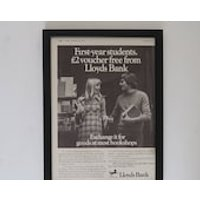 Vintage Lloyds Bank Advert Framed, Old Fashioned Banking Poster, Wall Art Decor Office Bank, Unique Sentimental Gift For Him Her Money - Sentimental Gifts