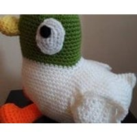 Handmade soft duck plushie, amigurumi duck, cartoon style duck soft toy, cuddly toy duck, sarah and duck larger duck - Soft Toy Gifts