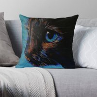 Turquoise  Tortie Cat  Cat Lover  Cushion  Throw Cushion  Pillow  Throw Pillow  Cotton Canvas  Kirstin Wood Artist  Original Art - Artist Gifts