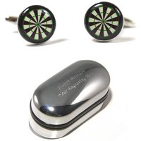Mens Darts Player, Dart Board Cufflinks  Engraved Gift Box (X2BOC017)  Darts Competition, Novelty Cufflinks, Personalised Cufflink Box - Darts Gifts