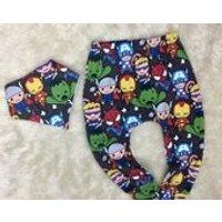 Marvel Leggings, Marvel harem trousers, matching dribble bib, bandana bib, Spider man, iron man, captain america, boy girl toddler leggings - Spider Man Gifts