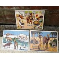 Vintage Nursery Puzzles Set Of 3. PutIn Picture Match. First Puzzle Farmyard Jungle Arctic Animals Cardboard Educational 1p UK postage - Educational Gifts