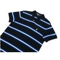 Ralph Lauren polo shirt striped black blue white vintage mens small free uk postage - Polo Gifts
