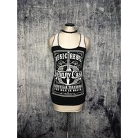 Johnny Cash Womens Tank Top // Reconstructed TShirt // Size Small // Country Music Rock and Roll Folk Alternative - Johnny Cash Gifts
