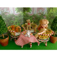 TEDDY BEARS GARDEN Lunchtime Setting for all 710 dolls like Betsy McCall, Ginny, Madame Alexander, Middle Blythe Riley Kish, Skipper etc - Teddy Bears Gifts