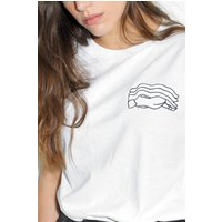 Embroidered Dreaming design  Artist Collaboration x Tallulah Fontaine / unisex white t shirt top  The Black Winnebago Club - Artist Gifts