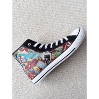 NEW! Canvas Shoes Hand Customised with Marvel Comic Pages Fabric, Thor, Spider Man, The Hulk, Iron Man, Captain America. - Spider Man Gifts