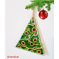 Christmas Tree  Lights Candles Painted on Glass Christmas Ornament Window Decor Suncatcher Gift Handmade Painted in Stained Glass Style - Seek Gifts