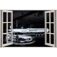 3D Window View Mercedes Benz Amg Granturismo Racing Vision Gt Wall Decal Sticker Frame Mural Effect Home Decor Bedroom Living Room 805 - Mercedes Gifts