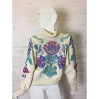 Vintage Retro 90s White Embroidered Batwing Polo Neck Jumper - Polo Gifts