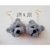 Grey Teddy Bear Pom Pom Earrings - Teddy Gifts