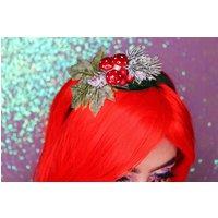 Super cute mushroom, berries and frosted foliage christmas headband - Mushroom Gifts