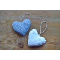 Baby Nursery Heart decoration, Fabric hanging heart, Ivory and Grey decoration, Shabby Chic decor, Country Style heart, Neutral Nursery - Nursery Gifts