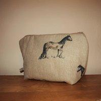 Large Horse Wash Bag/ MakeUp Bag by Feversham  Handmade in Yorkshire  Farm Animals  Horse  British Animals  Equine Fabric - Farm Gifts