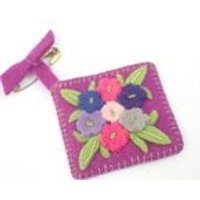 Vintage 1960s Sweet Handmade Floral Felt Brooch Purple - Sweet Gifts