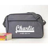 Personalised Grey Retro Shoulder Bag With Name - Shoulder Bag Gifts