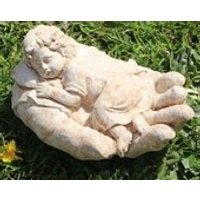Cherub In Hand, Stone Garden Ornament, Child Baby, Gift Idea, Made in Cornwall, Cornwall Stoneware, Home and Living, Garden Decoration - Garden Gifts