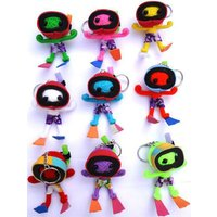 2 X Random Colour Voodoo Doll Keyrings Keychains in Scuba Diving Snorkel Mask Flippers Key Ring Key Chain Key Rings Key Chains String Dolls - Voodoo Doll Gifts