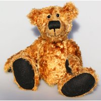 Happy Chappy is an exceedingly happy and friendly, limited edition, artist teddy bear made from vintage gold crushed velvet by BarbaraBears - Artist Gifts