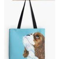 Turquoise  King Charles  Dog Lover  Tote Bag  Handbag  Shopping Bag  Shoulder Bag  Cotton Canvas  Kirstin Wood Artist  Original Art - Artist Gifts