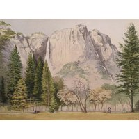 Original Watercolour, Upper Yosemite Fall, Yosemite National Park, california, U.S.A., Signed by the artist Leslie Bell 1983 - Artist Gifts