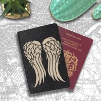 Daryl Dixon Walking Dead Vampire Angel Wings Passport Holder Travel Flip Cover Case PT084 - Vampire Gifts