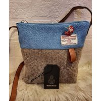 HARRIS TWEED Hand Finished OneOff Crossbody Shoulder Bag Brown Barleycorn Blue Herringbone Pure Wool Lawn Lined Country Classic Gift B9 - Shoulder Bag Gifts