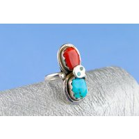 Zuni Ring Sterling Silver Turquoise Snake Red Vintage Native American Tribal Indian 20th Century - Indian Gifts