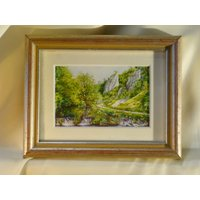 Irene Brierton Listed British Wildlife Artist Original Miniature Landscape Watercolour Painting Signed Dovedale Derbyshire Peak District 6 - Artist Gifts
