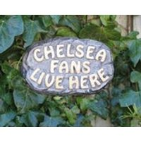 Chelsea Fans Live Here, Stone Wall Sign, Cornwall Stoneware, Home and Garden, Yard Art, Outdoors and Living, Novelty Gift Idea - Chelsea Gifts