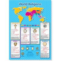 A3 laminated NEW World Religions Educational Poster - Educational Gifts