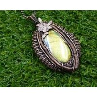 Heady Wire Wrap Labradorite, Woven Fairy Pendant, Woodland Pendant, Statement Labradorite Pendant, Wire Wrapped Jewelry - Fairy Gifts