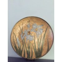 Art Nouveau Indian Brass plate dish with Iris flowers - Indian Gifts