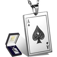 Ace Of Spades Necklace Silver Plated Chain Mens Poker Pendant  Elegant Gift Box - Poker Gifts