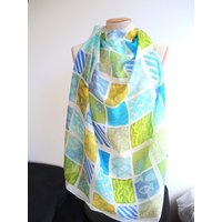 Cornish Eden Sudoku scarf large silk scarf square blue teal  green to white wearable art ready to ship OOAK - Sudoku Gifts