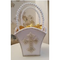 White First Holy Communion, Confirmation Cross Flower Girl Bridesmaid Basket - First Holy Communion Gifts
