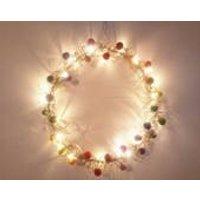 Rainbow wreath, fairy light wreath, rainbow fairy lights, light up wreath, hippy wreath, felt ball wreath, wire wreath, bright wreath, funky - Fairy Gifts