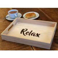 Wooden Tray  Relax Tray  Tea  Cake Tray  Personalised Tray  Custom Tray  Decorated and engraved using pyrography/woodburning - Custom Gifts