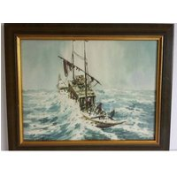 AB Ibrahim watercolour Singapore Malaysia Penang listed artist fishing boat in rough seas - Artist Gifts