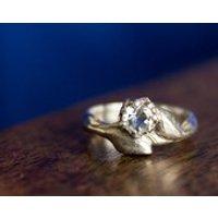 Silver Leaves Ring  Engagement Ring  White Topaz Stone Ring  White Stone Ring  Silver Engagement Ring  Solid Silver - Engagement Ring Gifts