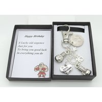 Personalised happy 16th birthday gift. Boxing Keyring. Lucky sixpence.  Personalised gift box. Choice of heart and number charm - 16th Birthday Gifts
