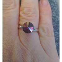 Titanium adjustable ring in Swarovski crystal lilac shadow - Lilac Gifts