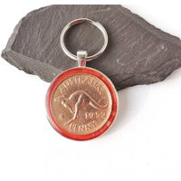Kangaroo Keyring, Australian Penny Coin Keyring, Date 1952, Birthday Gift with Old Penny Coin, Australia Coin in Resin Keyring, UK Seller - Kangaroo Gifts