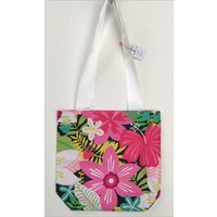 Hawaiian Hibiscus Pink  Brights Fabric Tote Beach Summer Bag - Hawaiian Gifts