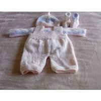 Hand Knitted 4 piece Pink and multi colour Shortie Dungaree Set with sweater, hat and ugg style boots - Ugg Gifts