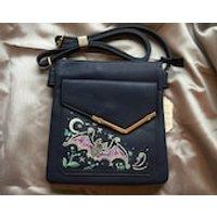Hand Painted Flying Bat Shoulder Bag. Blue Faux Leather Handbag. Gothic Pagan Messenger Bag. - Shoulder Bag Gifts
