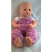 Dusky pink romper for 18inch doll such as Baby Annabell. Soft hand knit dungarees for 45cms tall doll. Easy to get on and off. - Baby Annabell Gifts