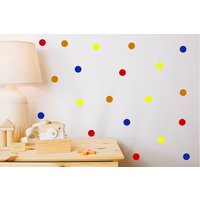 Colour Polka Dots, Nursery Wall Decals, Polka Dot Stickers, Removeable Decals, Peel And Stick, Yellow, Blue, Orange, Red, Wall Decor, Art,01 - Nursery Gifts